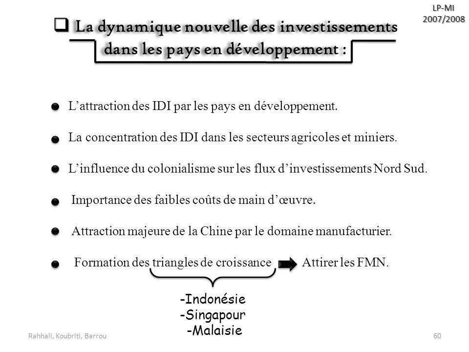 LP-MI 2007/2008. La dynamique nouvelle des investissements dans les pays en développement : L'attraction des IDI par les pays en développement.