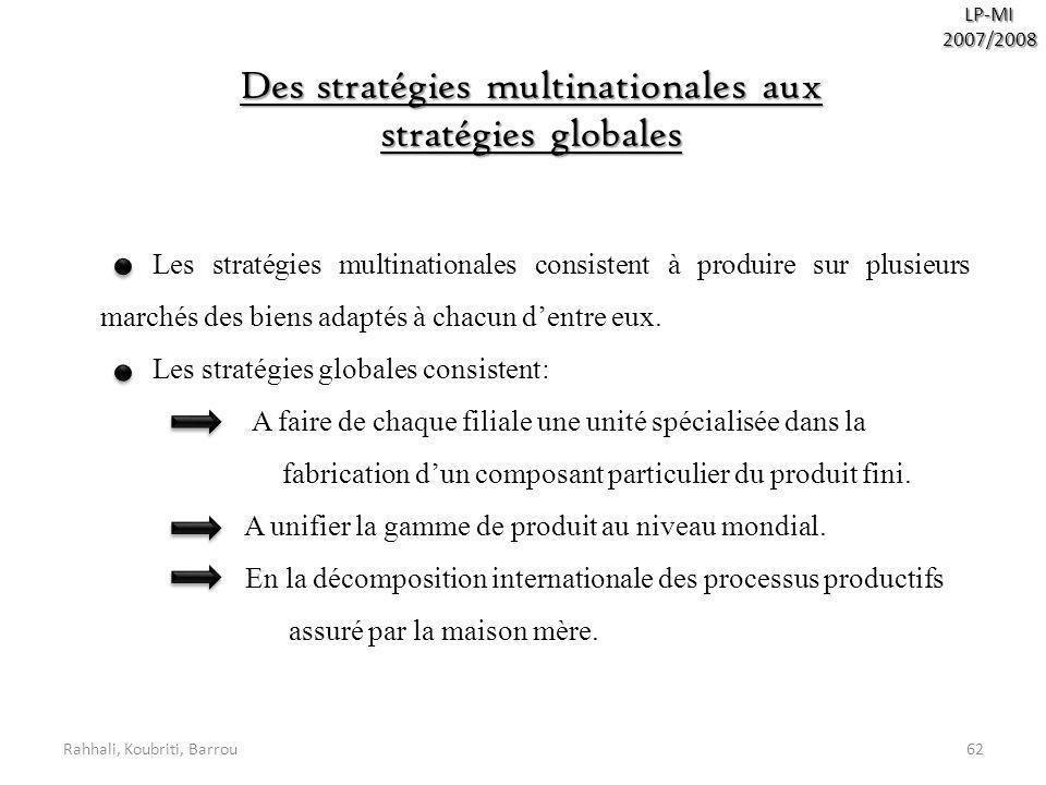 Des stratégies multinationales aux stratégies globales