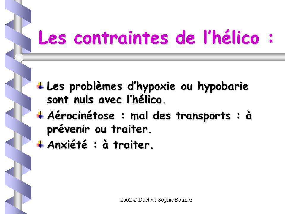 Les contraintes de l'hélico :