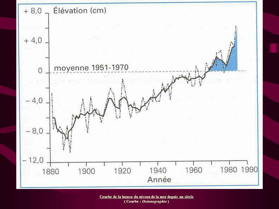 Courbe de la hausse du niveau de la mer depuis un siècle