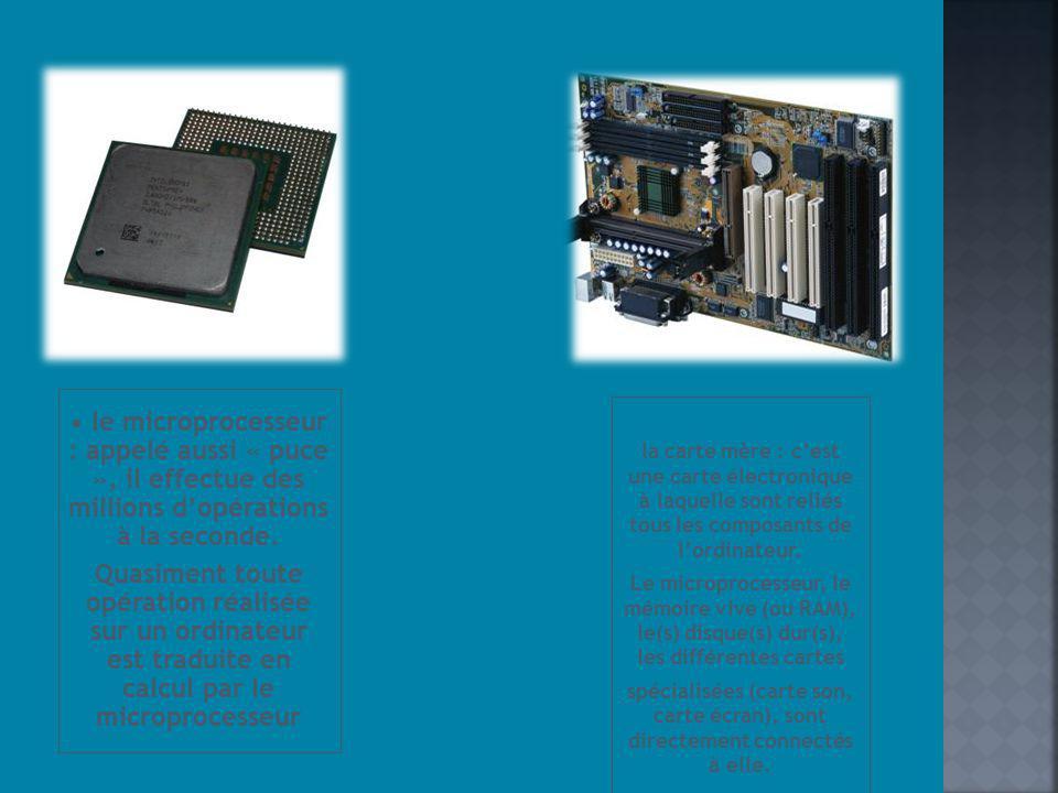 • le microprocesseur : appelé aussi « puce », il effectue des millions d'opérations à la seconde.