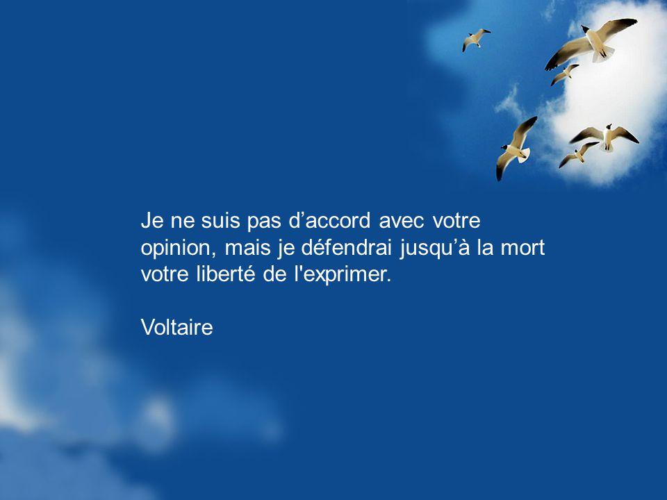 Je ne suis pas d'accord avec votre opinion, mais je défendrai jusqu'à la mort votre liberté de l exprimer.