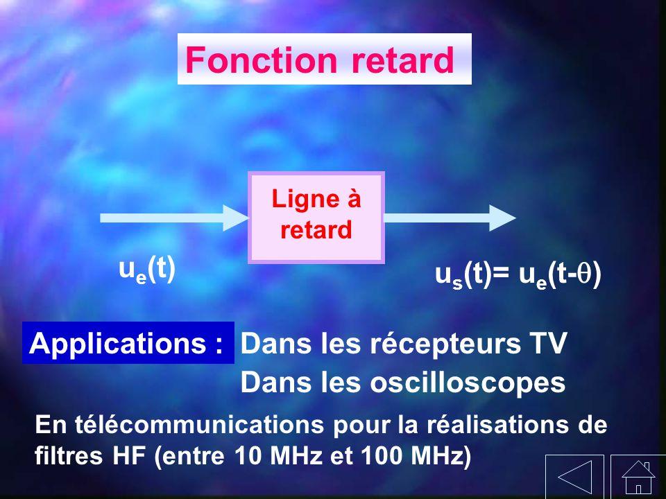 Fonction retard ue(t) us(t)= ue(t-) Applications :