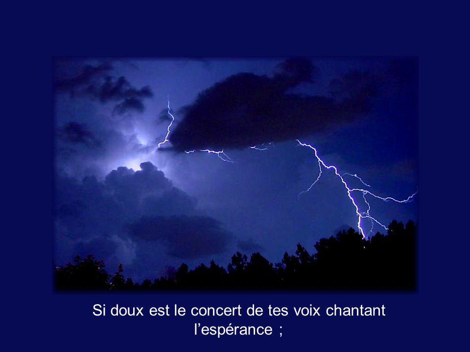 Si doux est le concert de tes voix chantant l'espérance ;