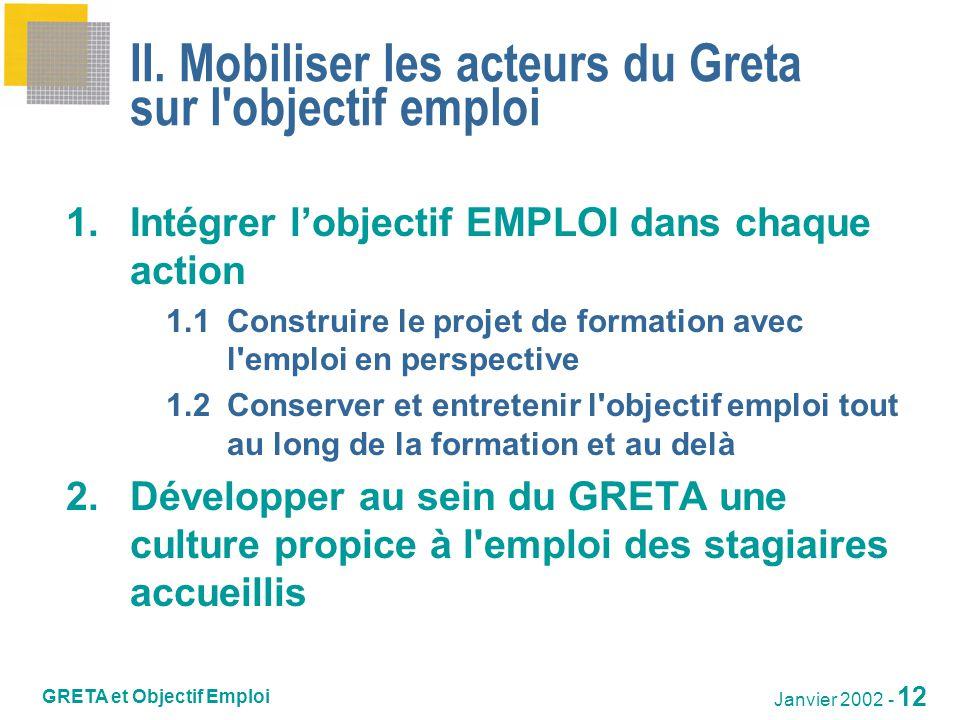 II. Mobiliser les acteurs du Greta sur l objectif emploi
