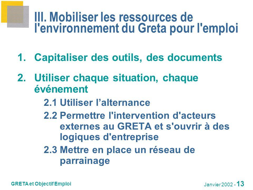 III. Mobiliser les ressources de l environnement du Greta pour l emploi