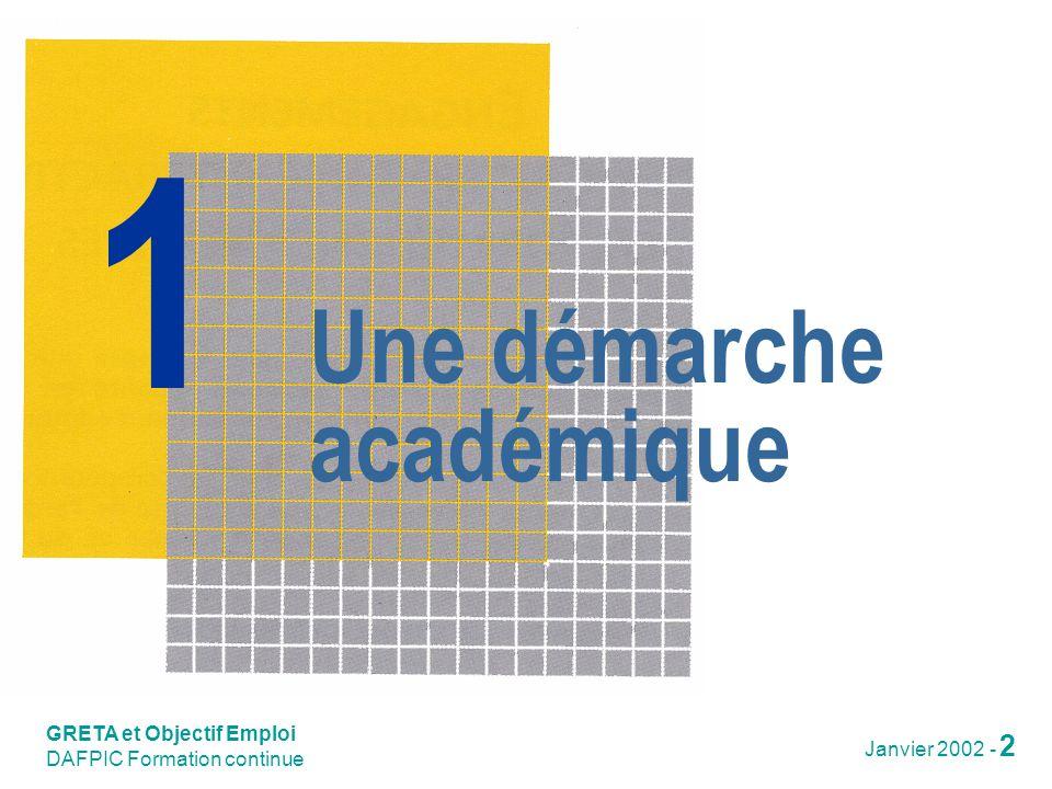 Une démarche académique