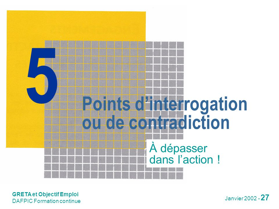 Points d'interrogation ou de contradiction