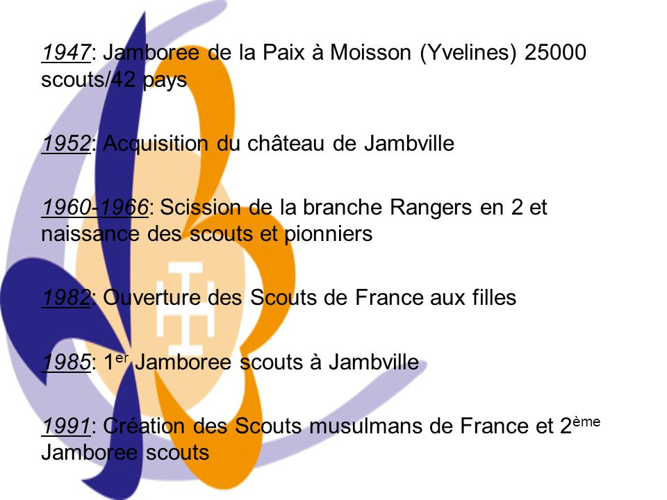 1947: Jamboree de la Paix à Moisson (Yvelines) 25000 scouts/42 pays