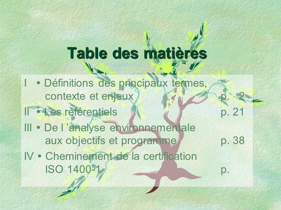 Table des matières I  Définitions des principaux termes, contexte et enjeux p. 2. II  Les référentiels p. 21.