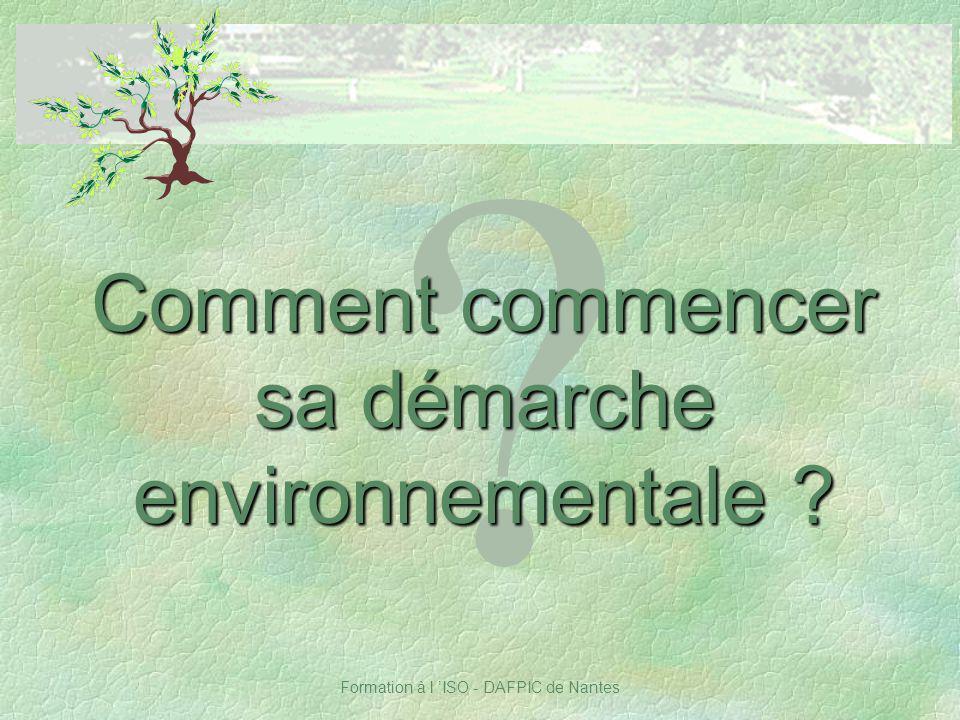 Comment commencer sa démarche environnementale Notes :