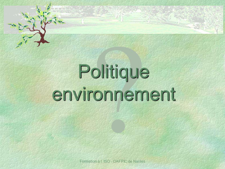 Politique environnement Notes :