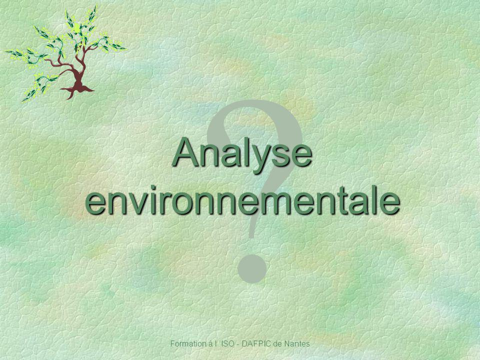 Analyse environnementale Notes :