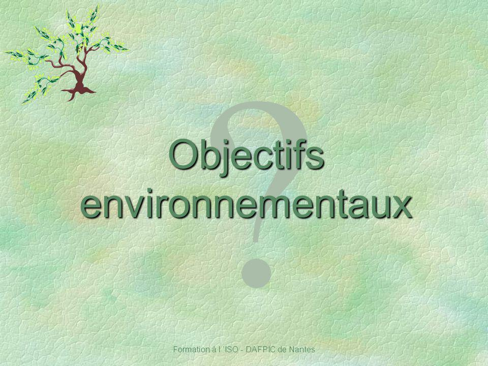 Objectifs environnementaux Notes :