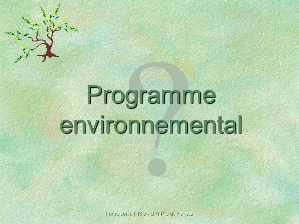Programme environnemental Notes :
