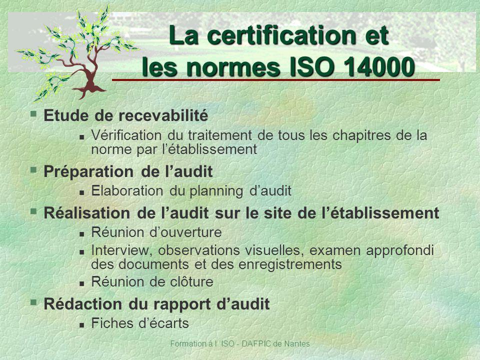 La certification et les normes ISO 14000