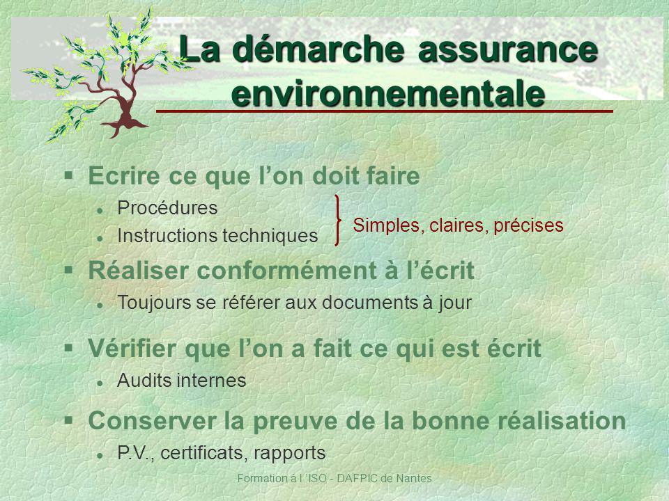 La démarche assurance environnementale