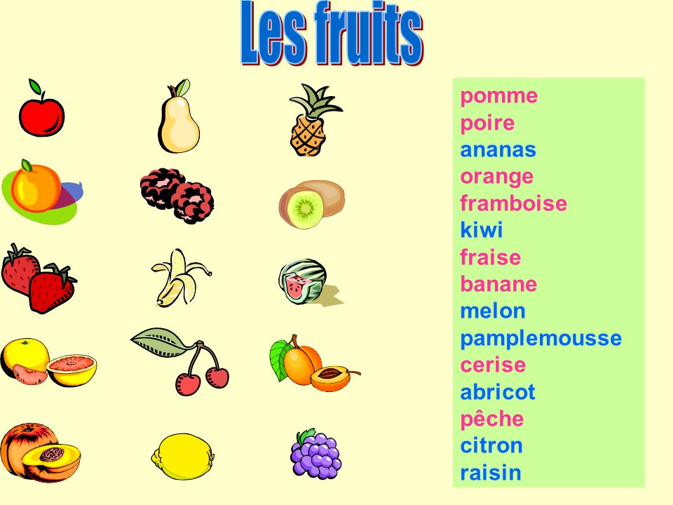 Les fruits pomme poire ananas orange framboise kiwi fraise banane