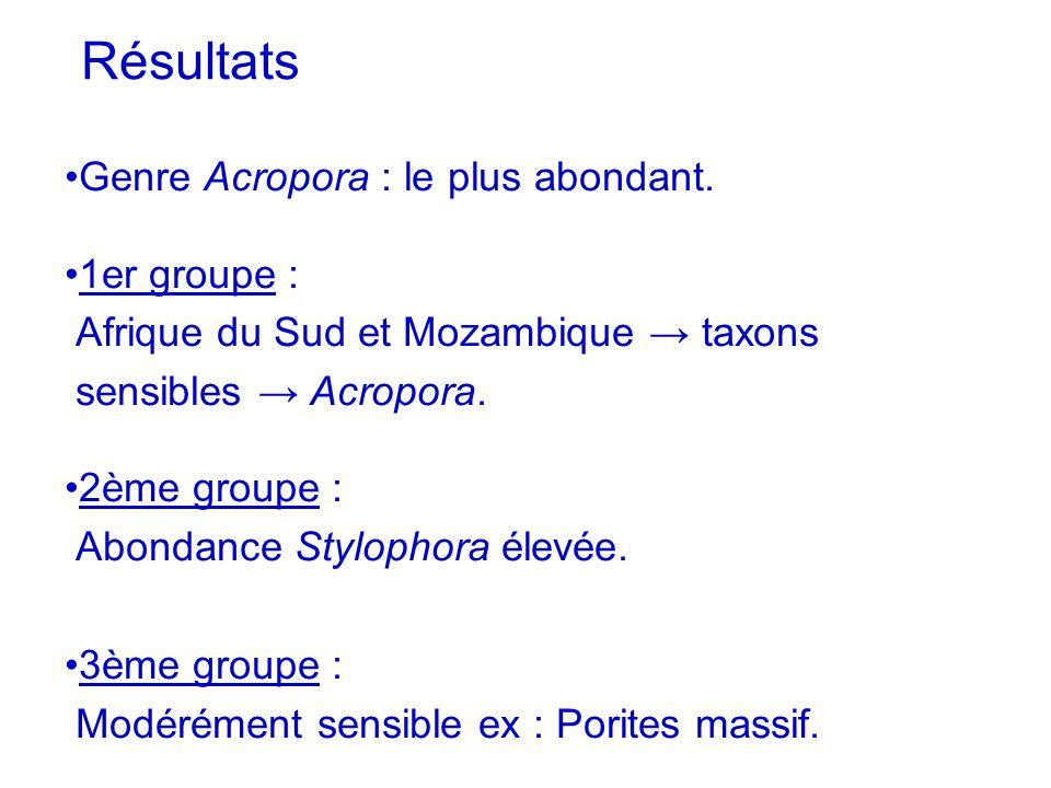 Résultats Genre Acropora : le plus abondant. 1er groupe :
