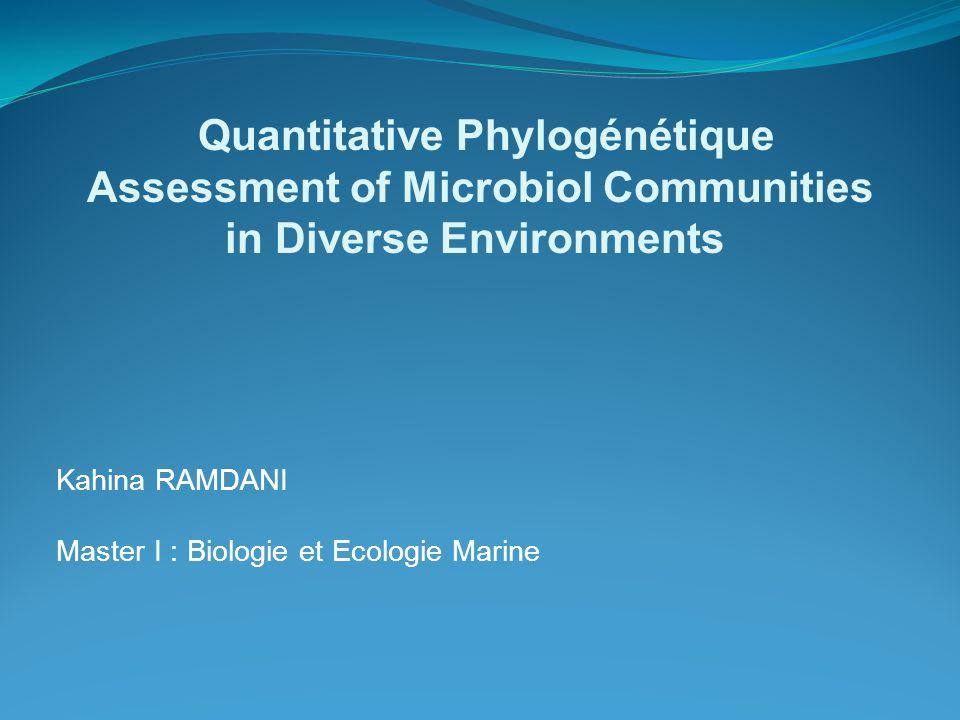 Kahina RAMDANI Master I : Biologie et Ecologie Marine