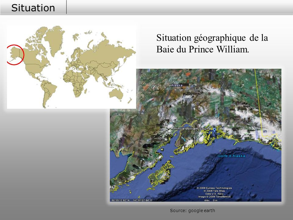 Situation géographique de la Baie du Prince William.