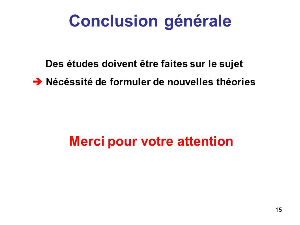 Conclusion générale Merci pour votre attention