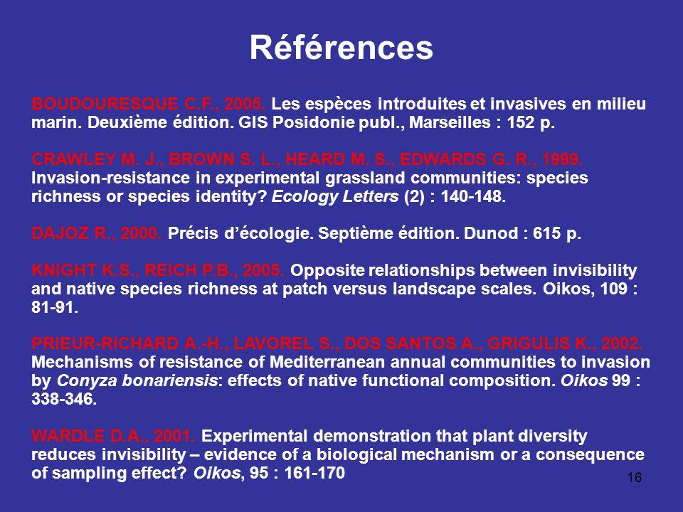Références BOUDOURESQUE C.F., 2005. Les espèces introduites et invasives en milieu marin. Deuxième édition. GIS Posidonie publ., Marseilles : 152 p.