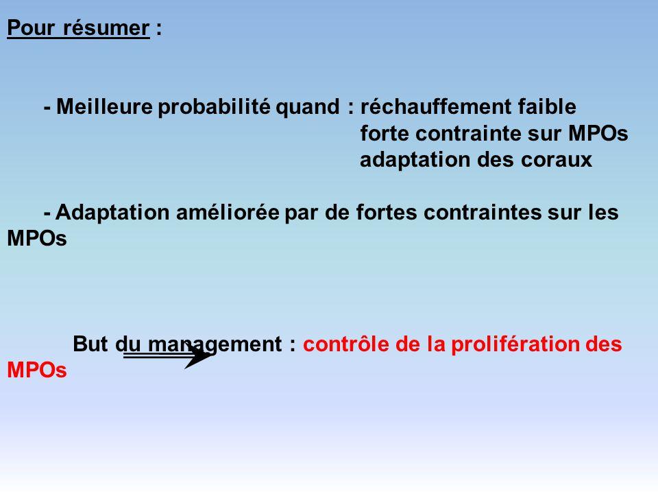 Pour résumer : - Meilleure probabilité quand : réchauffement faible forte contrainte sur MPOs.