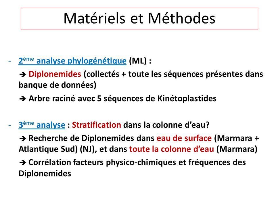 Matériels et Méthodes 2ème analyse phylogénétique (ML) :