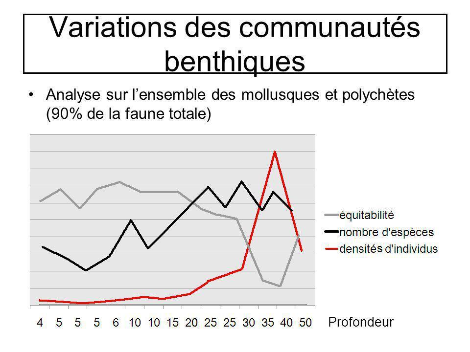 Variations des communautés benthiques