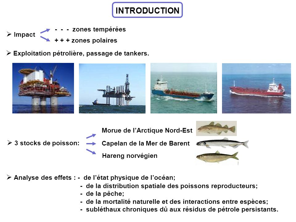 INTRODUCTION Impact Exploitation pétrolière, passage de tankers.