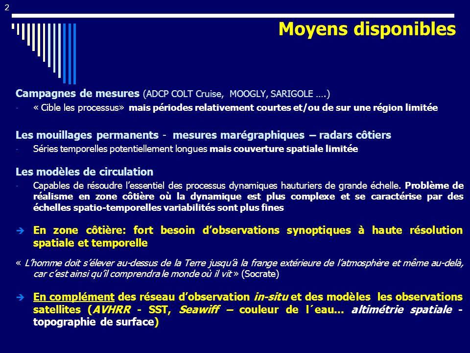 Moyens disponibles Campagnes de mesures (ADCP COLT Cruise, MOOGLY, SARIGOLE ….)