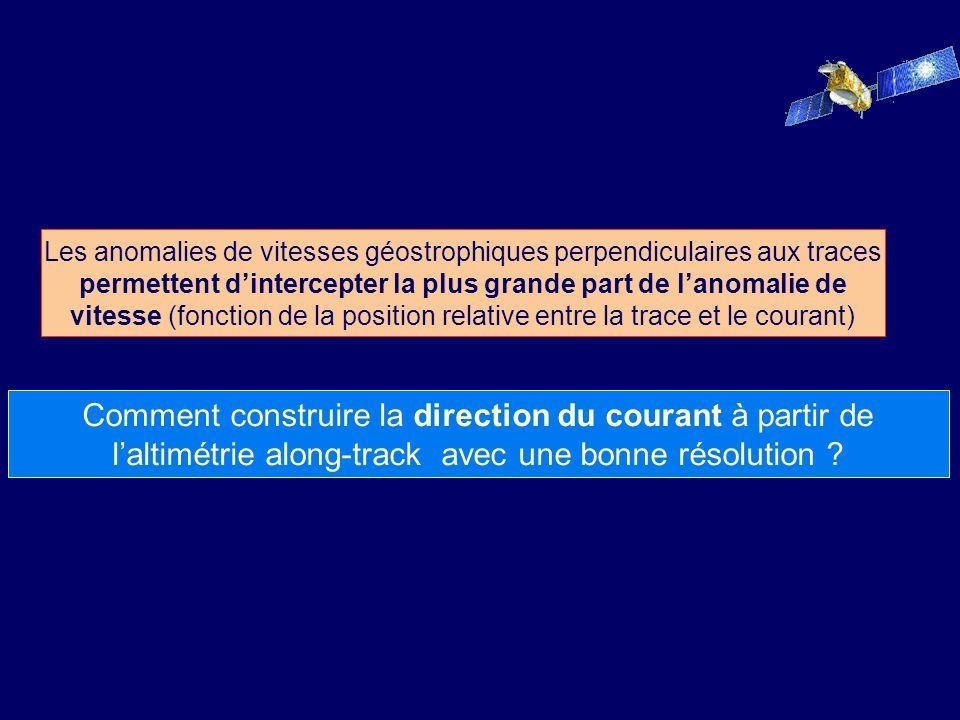 Les anomalies de vitesses géostrophiques perpendiculaires aux traces permettent d'intercepter la plus grande part de l'anomalie de vitesse (fonction de la position relative entre la trace et le courant)