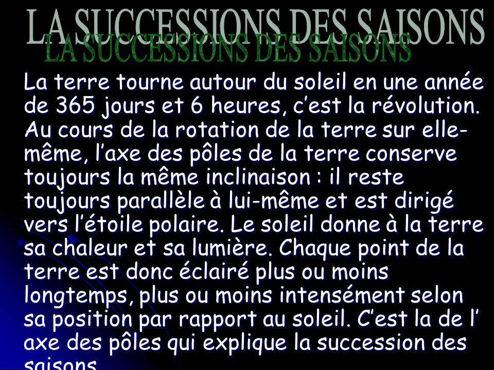 LA SUCCESSION DES SAISONS LA SUCCESIONS DES SAISONS