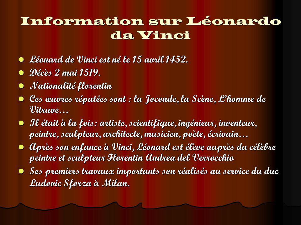 Information sur Léonardo da Vinci