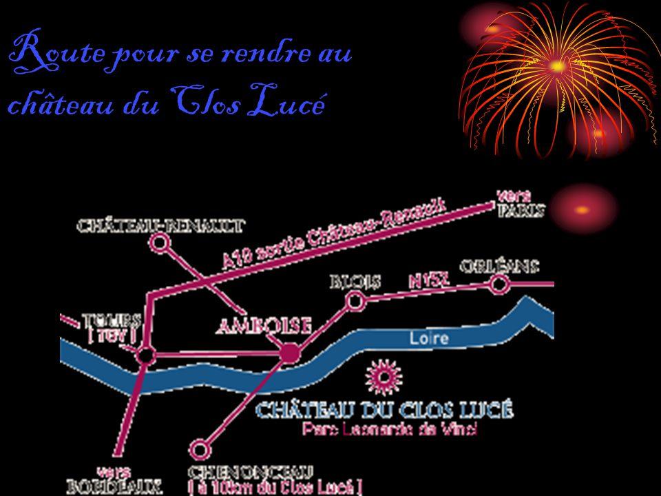 Route pour se rendre au château du Clos Lucé