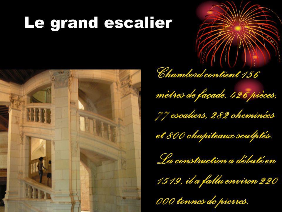 Le grand escalier Chambord contient 156 mètres de façade, 426 pièces, 77 escaliers, 282 cheminées et 800 chapiteaux sculptés.