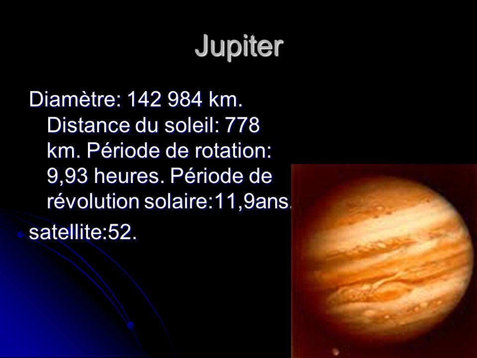 Jupiter Diamètre: 142 984 km. Distance du soleil: 778 km. Période de rotation: 9,93 heures. Période de révolution solaire:11,9ans.
