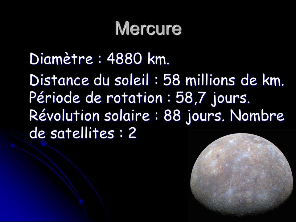 Mercure Diamètre : 4880 km.