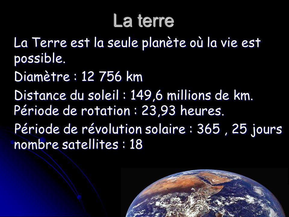 La terre La Terre est la seule planète où la vie est possible.