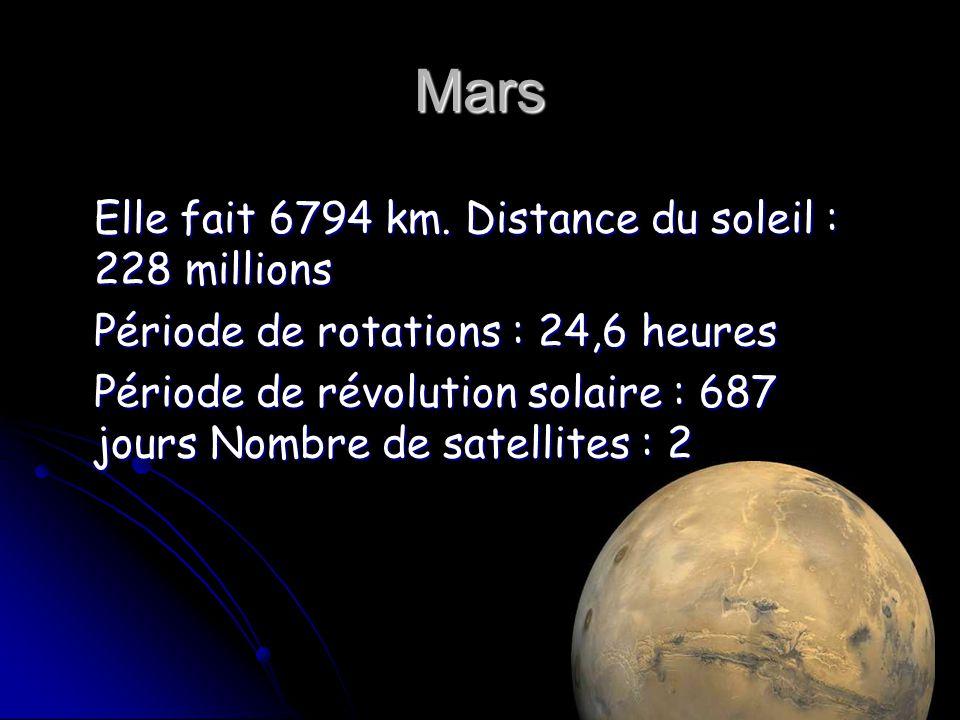 Mars Elle fait 6794 km. Distance du soleil : 228 millions