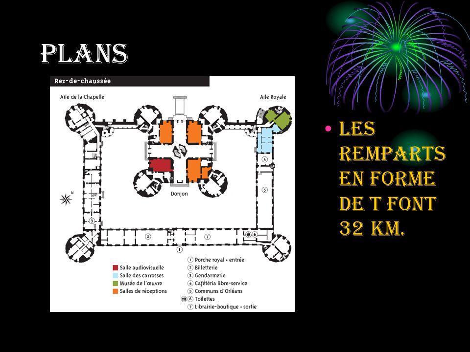 plans Les remparts en forme de t font 32 km.