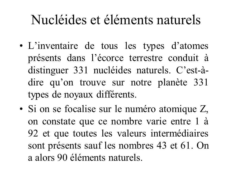 Nucléides et éléments naturels