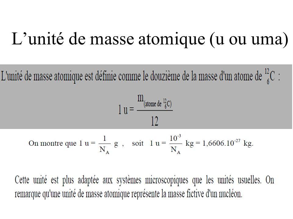 L'unité de masse atomique (u ou uma)