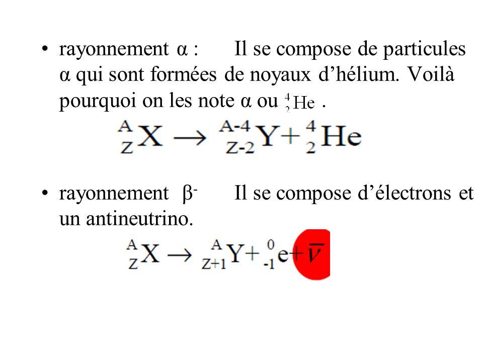 rayonnement α : Il se compose de particules α qui sont formées de noyaux d'hélium. Voilà pourquoi on les note α ou .