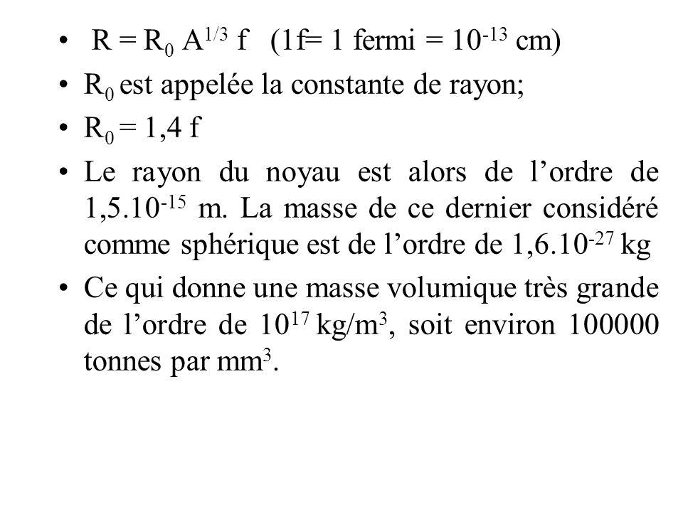 R = R0 A1/3 f (1f= 1 fermi = 10-13 cm) R0 est appelée la constante de rayon; R0 = 1,4 f.