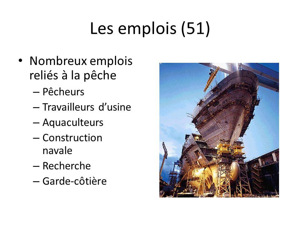Les emplois (51) Nombreux emplois reliés à la pêche Pêcheurs