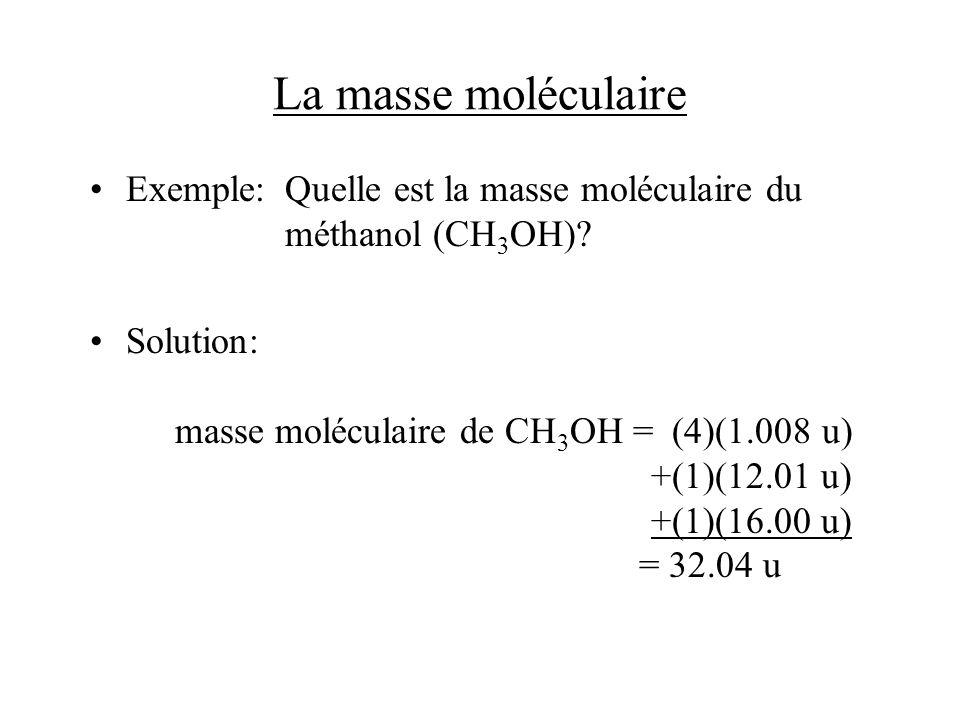 La masse moléculaire Exemple: Quelle est la masse moléculaire du méthanol (CH3OH)