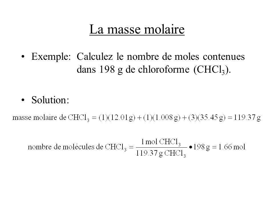 La masse molaire Exemple: Calculez le nombre de moles contenues dans 198 g de chloroforme (CHCl3).