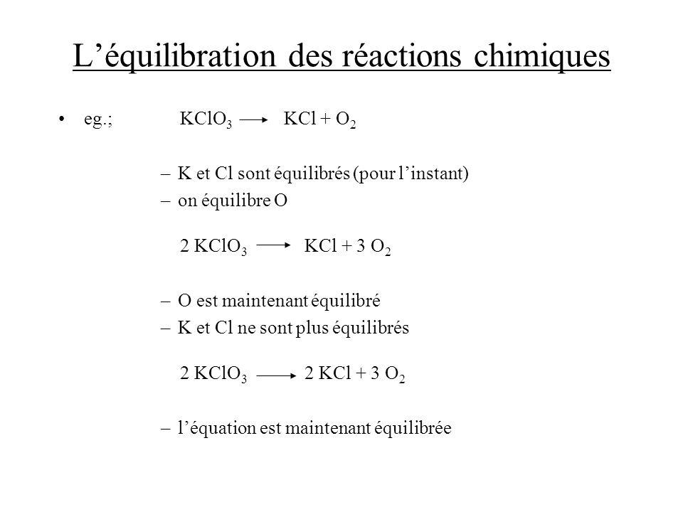 L'équilibration des réactions chimiques